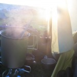 Coffee and porridge in the tent