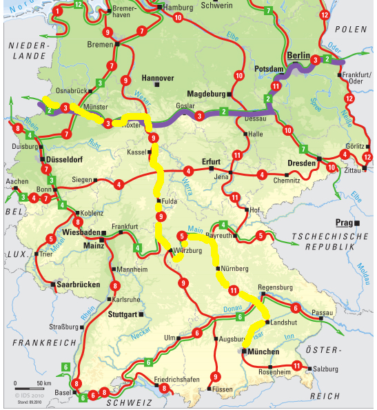 National cycle paths to Munich